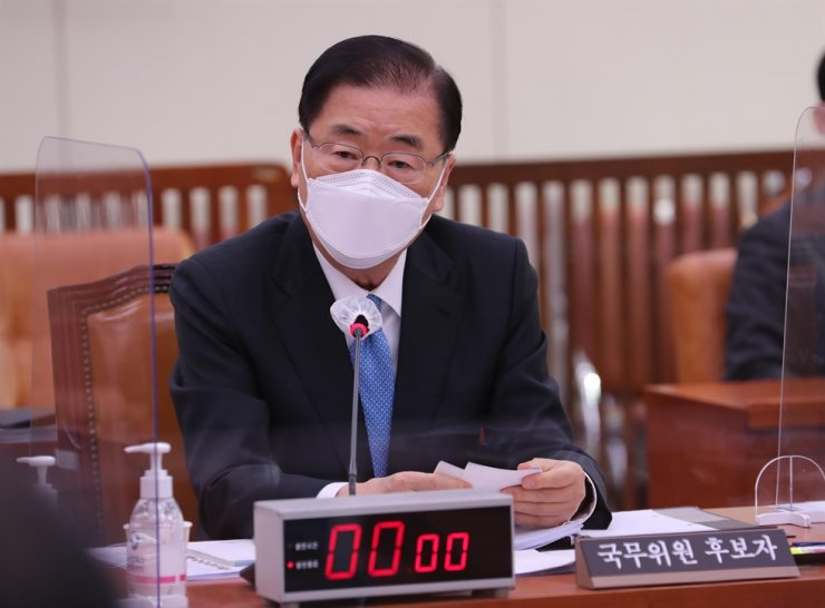 Foreign Minister nominee Chung Eui-yong speaks during his confirmation hearing at the National Assembly in Seoul, Friday. Chung said North Korean leader Kim Jong-un had the intention to give up its nuclear program. / Yonhap