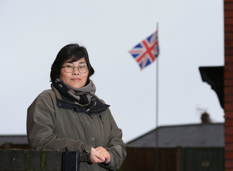 North Korean-born Jihyun Park, who fled to the U.K. 13 years ago and is now standing as a Conservative Party candidate for up-coming local council elections, poses for a photograph in Bury, northwest England, Feb. 6, 2021. AFP