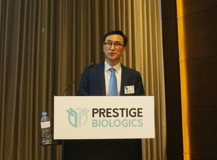 Prestige Biologics CEO Yang Jae-young speaks during a press conference at the Conrad Seoul in Yeouido, Seoul, Friday. Courtesy of Prestige Biologics