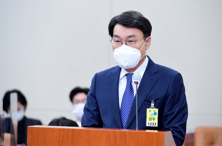 POSCO Chairman Choi Jeong-woo speaks during a National Assembly hearing in Seoul, Monday. Yonhap