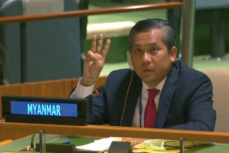 Myanmar's ambassador to the United Nations Kyaw Moe Tun holds up three fingers at the end of his speech to the General Assembly where he pleaded for International action in overturning the military coup in his country as seen in this still image taken from a video, in the Manhattan borough of New York City, New York, U.S., February 26, 2021. REUTERS-Yonhap