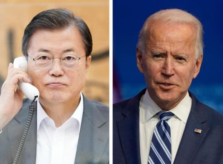 President Moon Jae-in, left, and his U.S. counterpart Joe Biden / Yonhap