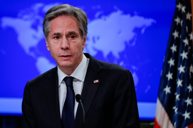 U.S. Secretary of State Antony Blinken addresses reporters during his first press briefing at the State Department in Washington, D.C., Jan. 27. Reuters-Yonhap