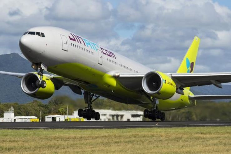 Carrier Jin Air's B777 jet takes off from Incheon International Airport in this March 30, 2020, photo. Courtesy of Jin Air