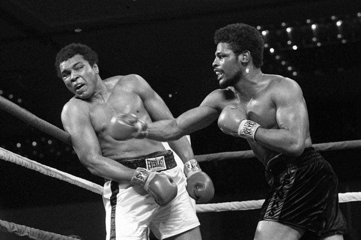 In this Feb. 15, 1978, file photo, Leon Spinks, right, connects with a right hook to Muhammad Ali, during the late rounds of their championship fight in Las Vegas. Spinks died Friday night, Feb. 5, 2021, after battling prostate and other cancers. He was 67. AP