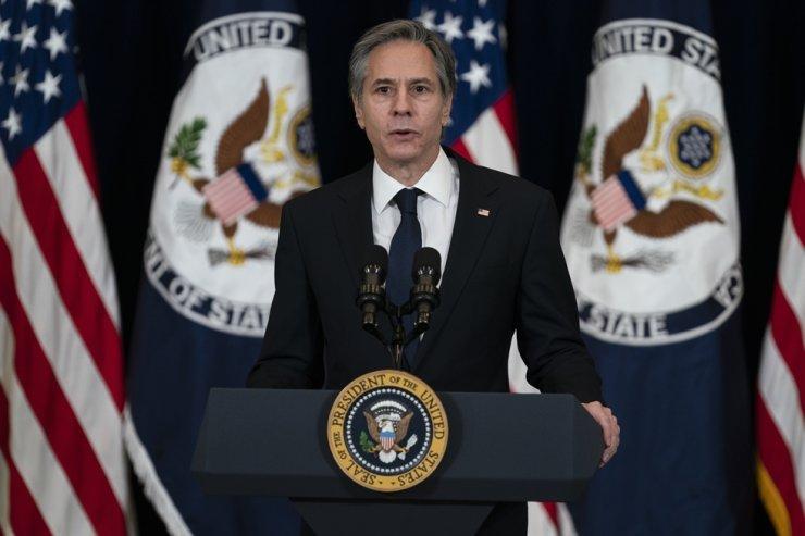 In this Feb. 4, 2021, photo, Secretary of State Antony Blinken speaks at the State Department in Washington. AP
