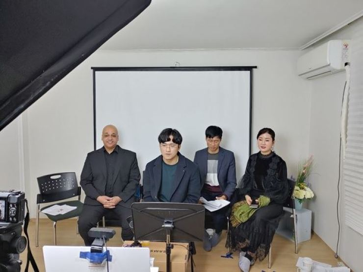 Lee Jeong-cheol (front center) speaks at the Freedom Speakers International (FSI) office on Jan. 29, 2021, at an online conference organized by the Master of Human Rights Students Association at Manitoba University in Winnipeg, Canada. Courtesy of FSI
