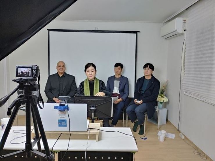 Ju Chan-yang (front center) speaking at the Freedom Speakers International office on Jan. 29, 2021, at an online conference organized by the Master of Human Rights Students Association at Manitoba University in Winnipeg, Canada. Photo courtesy of Freedom Speakers International