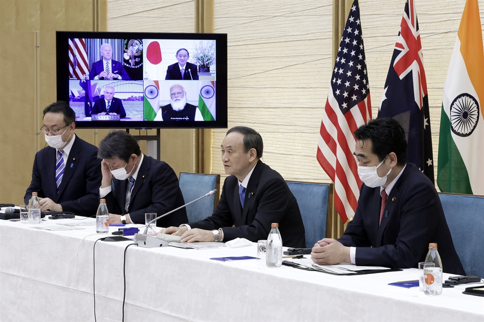 U.S. President Joe Biden speaks during a virtual meeting with the three other leaders from the Quad member countries ― Prime Minister Scott Morrison of Australia, Prime Minister Narendra Modi of India and Prime Minister Yoshihide Suga of Japan, from the White House in Washington, D.C., Friday. AFP-Yonhap
