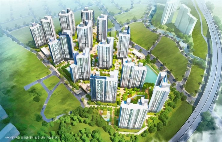 An aerial view of The Sharp Geoje Dclive apartment built by Posco E&C in Geoje, South Gyeongsang Province / Courtesy of Posco E&C