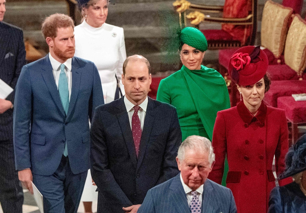 Britain's Prince Harry, Duke of Sussex, left, and Meghan, Duchess of Sussex, arrive to attend the annual Commonwealth Service at Westminster Abbey in London on Mar. 09, 2020. AFP-Yonhap