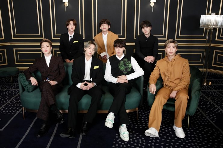 BTS poses during an online red carpet event of the Grammy Awards 2021, Monday. Courtesy of Big Hit Entertainment