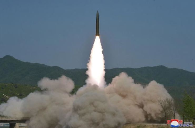 This file photo shows a short-range missile launched by the North Korean military. North Korea on Thursday fired at least one unidentified projectile into the East Sea, the Joint Chiefs of Staff said. Yonhap