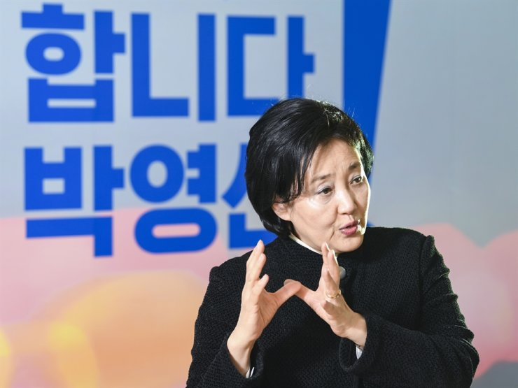 Ruling Democratic Party of Korea's candidate for the April 7 Seoul mayoral election Park Young-sun speaks during an interview with the Hankook Ilbo, the sister paper of The Korea Times, at her election camp office in Seoul, March 2. Korea Times photo by Lee Han-ho