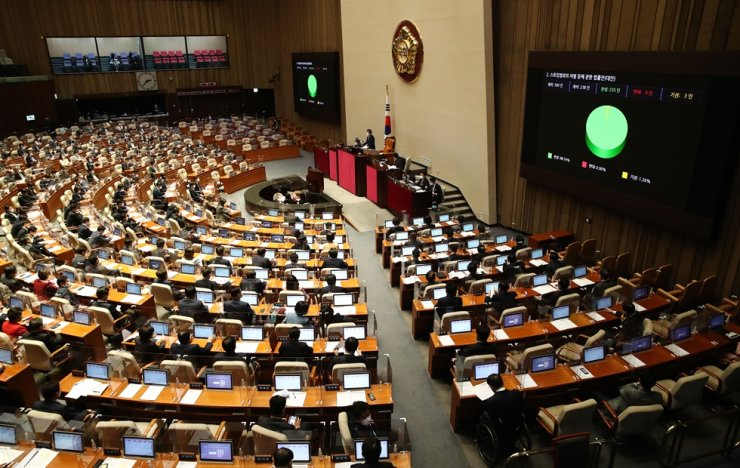 Lawmakers vote on the passage of a bill to strengthen punishment for stalkers during a plenary meeting held at the National Assembly in southern Seoul, Wednesday. Yonhap