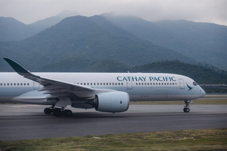 This file photo taken on Nov. 8, 2017, shows a Cathay Pacific airlines passenger plane preparing to take off from the international airport in Hong Kong. AFP