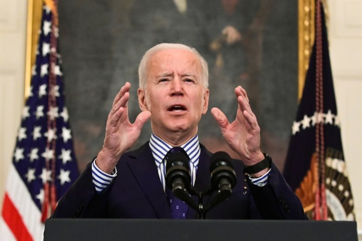 U.S. President Joe Biden speaks after the Senate approved a $1.9 trillion virus relief plan, at the White House in Washington, D.C., Saturday. Reuters-Yonhap