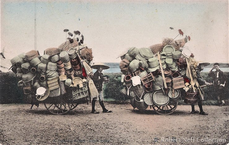 Japanese straw goods vendors in the late 19th century.  Robert Neff Collection