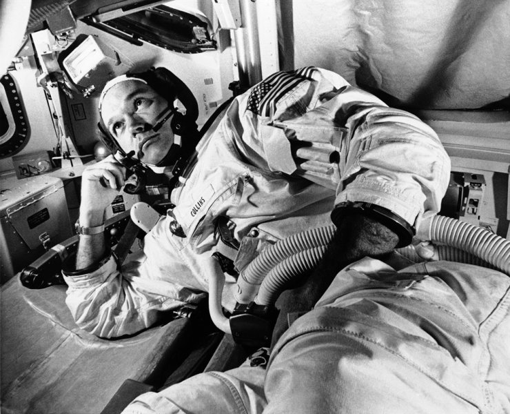 In this June 19, 1969 file photo, Apollo 11 command module pilot astronaut Michael Collins takes a break during training for the moon mission, in Cape Kennedy, Fla., AP-Yonhap