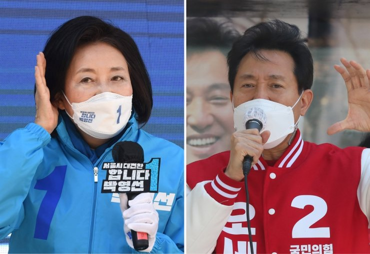 In the left photo, Park Young-sun, ruling Democratic Party of Korea's candidate for Seoul mayoral by-election, listens to citizens during a campaign near Wangsimni Station, Seoul, Tuesday, while in the right photo, Oh Se-hoon, the candidate from the main opposition People Power Party, speaks in a plaza near Yeongdeungpo Station, Tuesday. Joint Press Corps