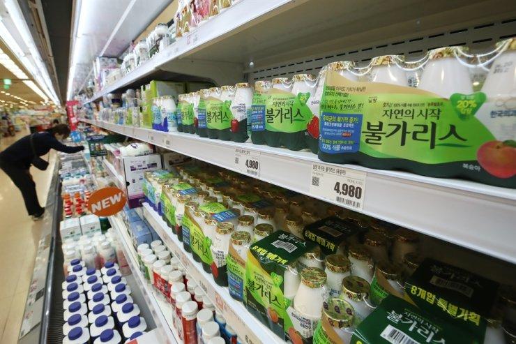 Namyang Dairy Products' Bulgaris drinking yogurt is on display at a supermarket in Seoul, Wednesday. Yonhap