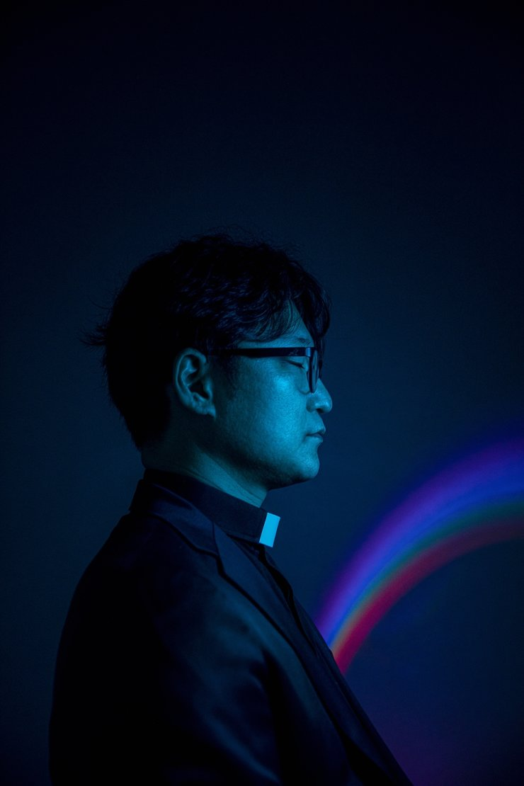 Rev. Lee Dong-hwan, the pastor of Glory Jeil Church in Suwon who was suspended from duty after holding a 'blessing prayer' at the 2019 Queer Culture Festival in Incheon, poses during an interview at The Korea Times office in Seoul, April 23. Korea Times photo by Shim Hyun-chul