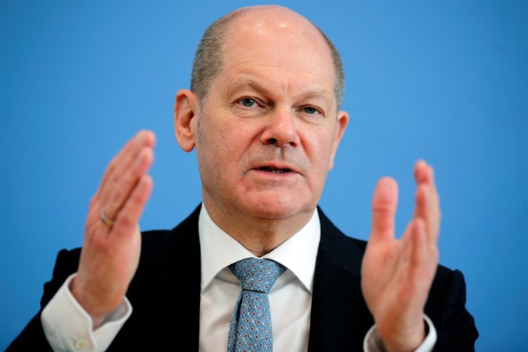 German Finance Minister Olaf Scholz gestures as he holds a news conference in Berlin, Germany, March 24, 2021. REUTERS-Yonhap