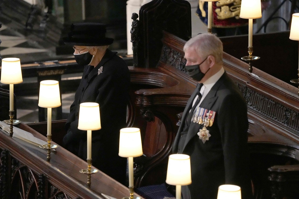 The coffin of Britain's Prince Philip, husband of Queen Elizabeth, who died at the age of 99, is taken into St. George's Chapel for a funeral service in Windsor, Britain, April 17. Reuters