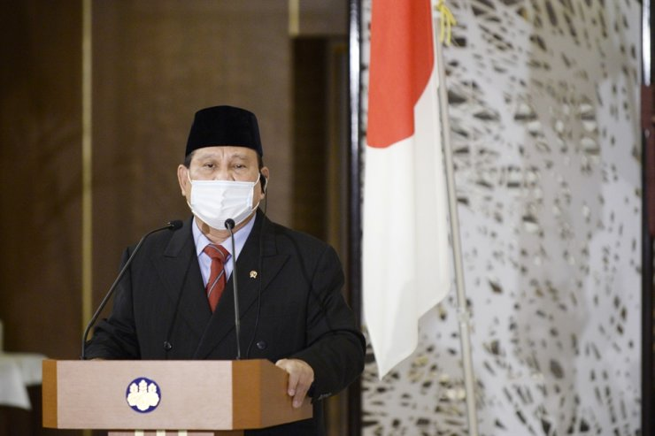 Indonesian Defense Minister Prabowo Subianto speaks following a signing ceremony with Japanese ministers for their foreign and defense ministers' meetings in Tokyo on Tuesday, March 30, 2021. AP
