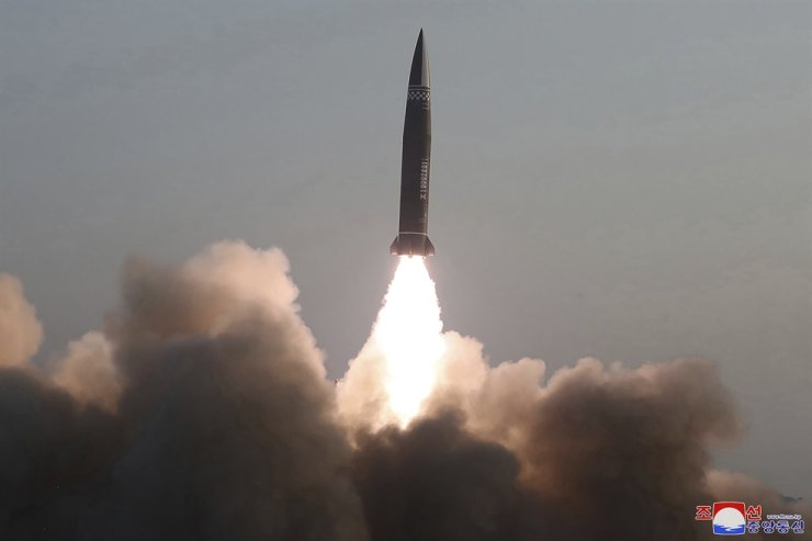 This March 25 file photo provided by the North Korean government shows what it says a test fire of newly developed new-type tactical guided projectile by the Academy of Defense Science, at an undisclosed place in North Korea. North Korea could have up to 242 nuclear weapons and dozens of intercontinental ballistic missiles by 2027, a research report said Tuesday. AP