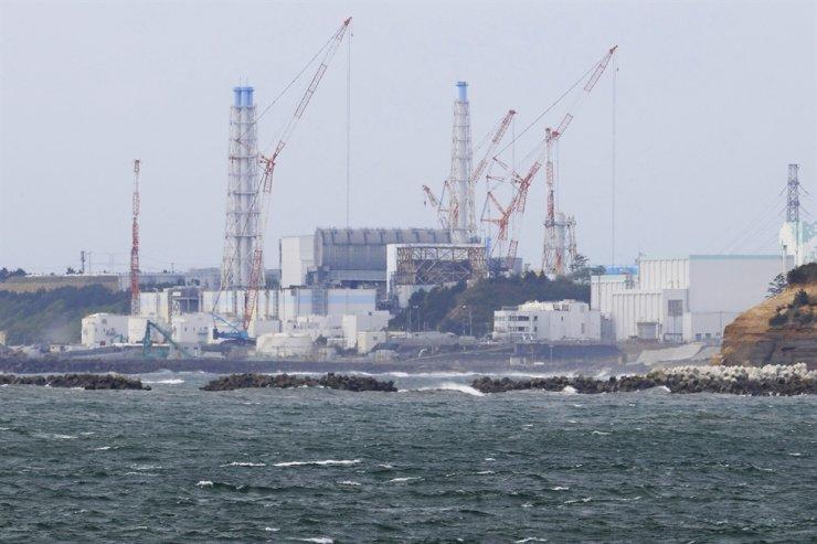 Fukushima Daiichi nuclear power plant is seen from Namie town, Fukushima prefecture, north of Tokyo, April 13. AP