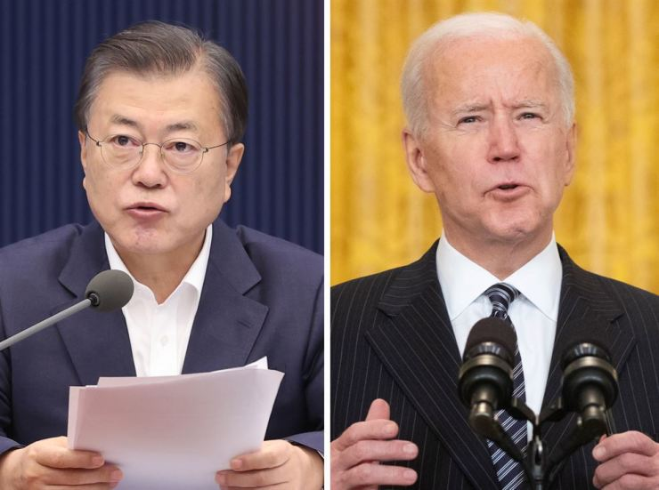 President Moon Jae-in and U.S. President Joe Biden will hold their first in-person next month in Washington, D.C., Cheong Wa Dae confirmed Friday. EPA-Yonhap