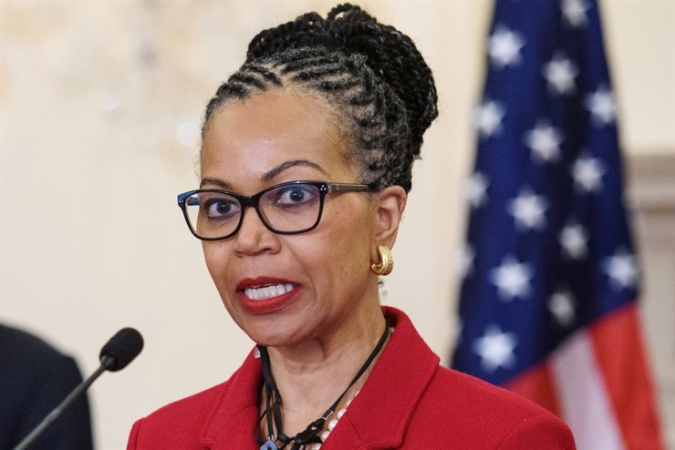 Former ambassador Gina Abercrombie-Winstanley speaks after U.S. Secretary of State Antony Blinken announced that she would be the first chief diversity officer in the Benjamin Franklin Room of the State Department in Washington, DC, April 12. Reuters