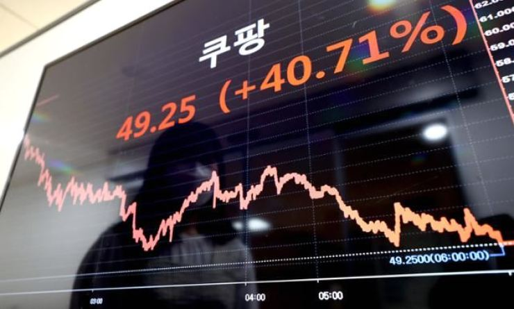 A television monitor shows Coupang's stock price on March 15. Korea Times file
