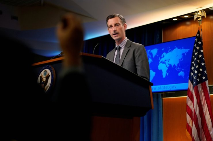 U.S. State Department spokesman Ned Price speaks at the State Department in Washington, March 31. Reuters