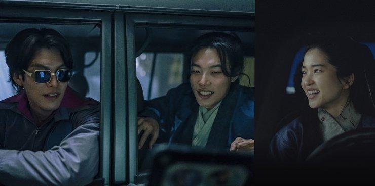 From left, actors Kim Woo-bin, Ryu Jun-yeol and Kim Tae-ri are seen in a scene from the crime sci-fi film, 'Alien.' Courtesy of CJ ENM