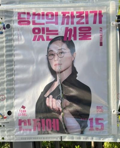 Oh Tae-yang, Seoul mayoral candidate from the Mirae Party, kneels beside vandalized campaign banners on a street in Seoul. Captured from Oh's blog