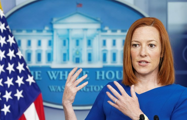 U.S. White House Press Secretary Jen Psaki holds a briefing at the White House in Washington, April 7. Reuters