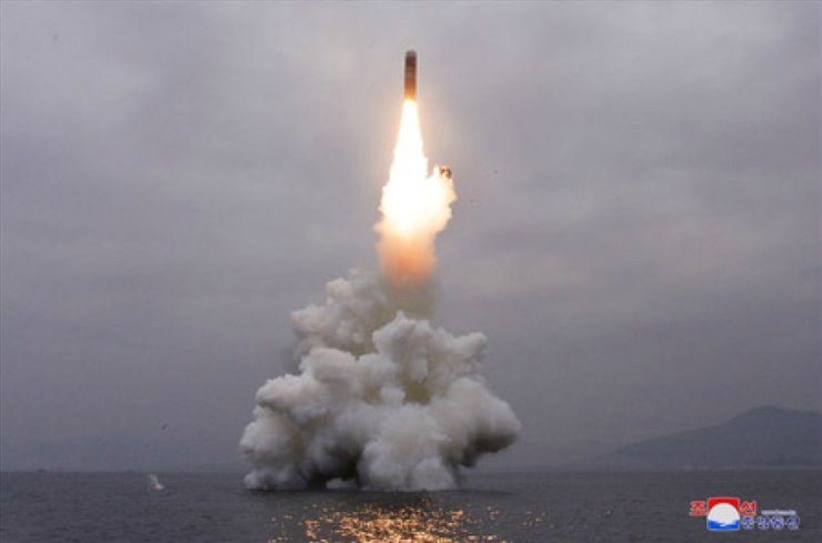 North Korea's Korean Central News Agency released on Oct. 3, 2019, a photo of their submarine-launched ballistic missile Pukkuksong-3. Yonhap