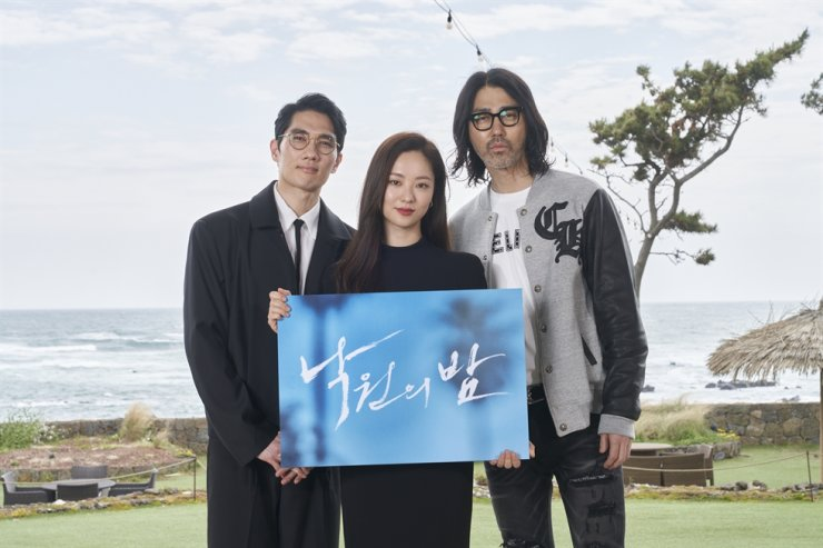 From left, actors Um Tae-goo, Jeon Yeo-been and Cha Seoung-won pose during a press conference for 'Night in Paradise' on Jeju Island, Friday. Courtesy of Netflix