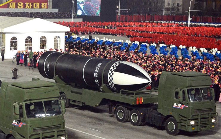 North Korea's newly developed submarine launched ballistic missile Pukguksong-5 is being introduced at a military parade held Jan. 14, 2021, to mark the country's ruling Workers' Party of Korea's eighth congress, in this photo released by the country's state-run Korean Central News Agency the following day. Yonhap