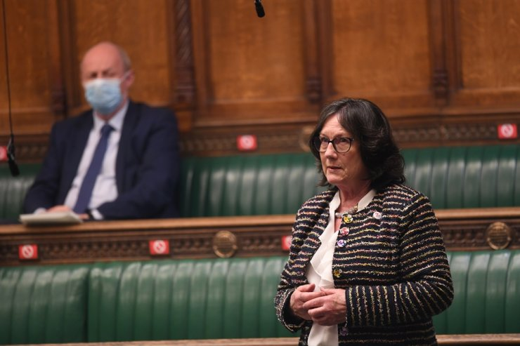 Pauline Latham, the Member of Parliament of the United Kingdom, speaks during Health Secretary Matt Hancock's update on the COVID-19 situation, at the House of Commons in London, April 19. Reuters-Yonhap