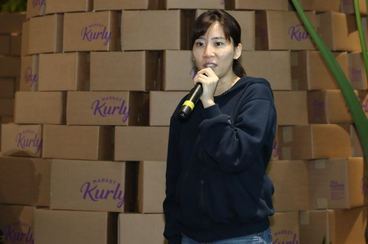 Market Kurly's CEO Sophie Kim talks to reporters during a press conference held at the company's headquarters in Seoul, in this 2019 file photo. Yonhap