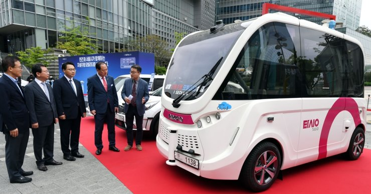 A self-driving vehicle is showcased in a smart mobility launch ceremony held in Sangam-dong, Seoul, in this May 20, 2020, photo. Korea Times file