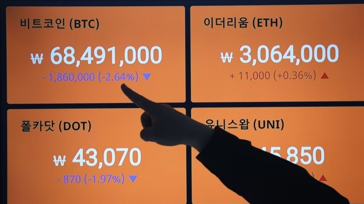 Prices for bitcoin and other cryptocurrencies are displayed at an electronic board in a customer center of Bithumb in Seoul, Thursday. Yonhap