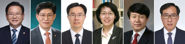 Cheong Wa Dae announced its latest Cabinet reshuffle Friday. From left are nominees to join the Moon Jae-in government: Kim Boo-kyum, a former four-term lawmaker with the DPK and a former minister of interior and safety, as new prime minister; Noh Hyeong-ouk, former chief of the Office for Government Policy Coordination as land minister; Moon Sung-wook, deputy head of Office for Government Policy Coordination as minister of trade, industry and energy; Lim Hye-sook, chief of the National Research Council of Science Technology as science minister; An Kyung-duk, a standing member of the Economic, Social Labor Council as minister of employment and labor; and Park Jun-young, vice minister of oceans and fisheries as the new minister of oceans and fisheries. Yonhap