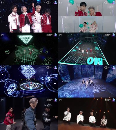 From left, Onew, Minho, Taemin and Key of K-pop boy band SHINee held their first online concert, 'Beyond LIVE ― SHINee WORLD,' on Sunday. Courtesy of SM Entertainment
