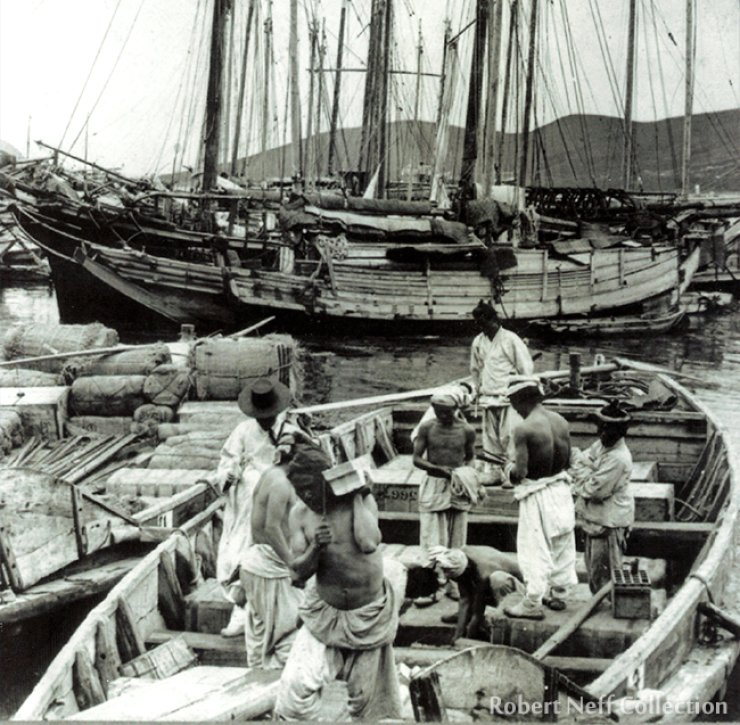 Unloading ships in Fusan (Busan) harbor in 1903.  Robert Neff Collection