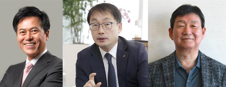 From left: SK Telecom CEO Park Jung-ho, KT CEO Ku Hyeon-mo, LG Uplus CEO Hwang Hyeon-sik / Korea Times file