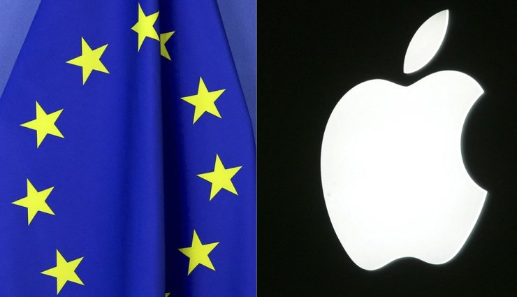 This combination of file photos shows the European Union flag at the European Commission building in Brussels, April 23, and the logo of US tech giant Apple, Sept. 20, in Paris, on the first day of the annual five-day Apple exhibition. The EU formally accused Apple, April 30, of unfairly squeezing out music streaming rivals through its App Store in one of the biggest-ever competition cases to hit the iPhone maker. AFP-Yonhap